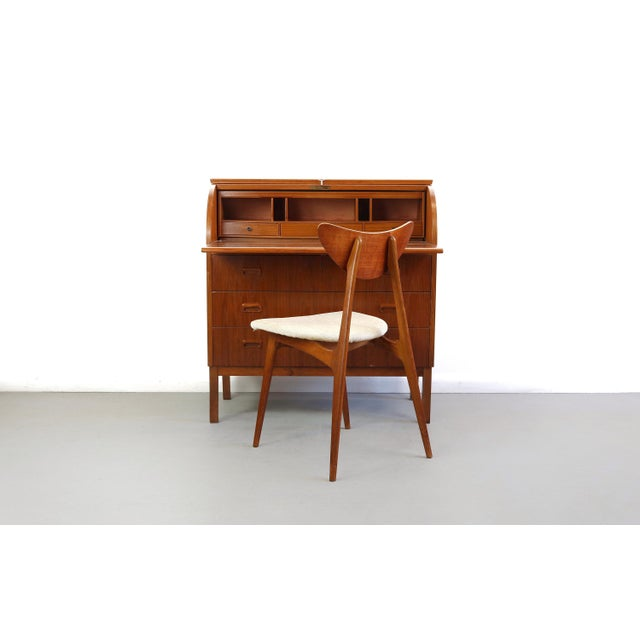 About Mid Century Danish Modern Roll Top Secretary Teak Desk Attributed to Egon Ostergaard This is truly a stunning 1960s...