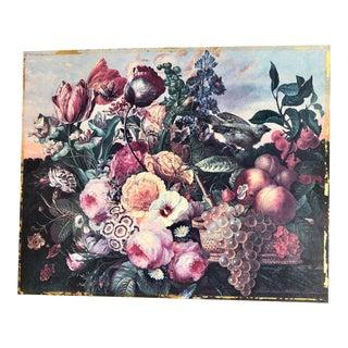 1940s Art Nouveau Floral and Bird Print For Sale