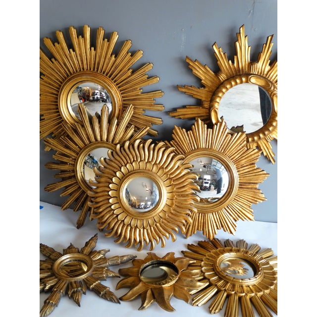 Mid Century French Giltwood Sunburst Mirror For Sale In Houston - Image 6 of 7
