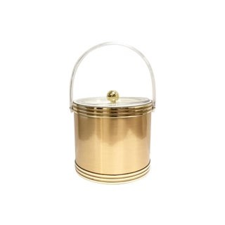 Georges Briard Mid-Century Gold Lucite Ice Bucket For Sale