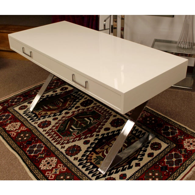 Metal Mid-Century Modern Milo Baughman White Lacquer Chrome X Base Campaign Desk 1960s For Sale - Image 7 of 11