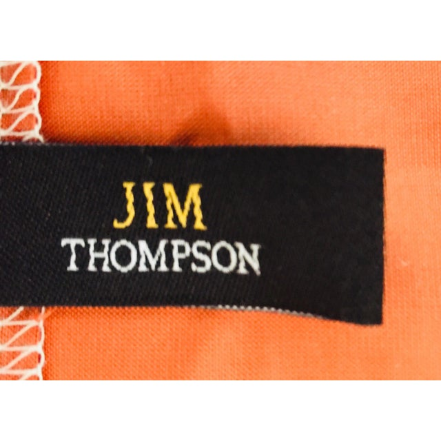 Linen Mid Century Jim Thompson Orange Designer Decorative Pillow With Lotus Flower Print For Sale - Image 7 of 10
