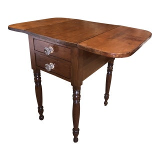 Antique American Federal Sheraton Style Drop Side Table For Sale