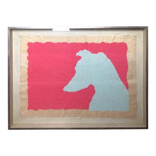 Modern Pink & Blue Dog Silhouette Painting For Sale