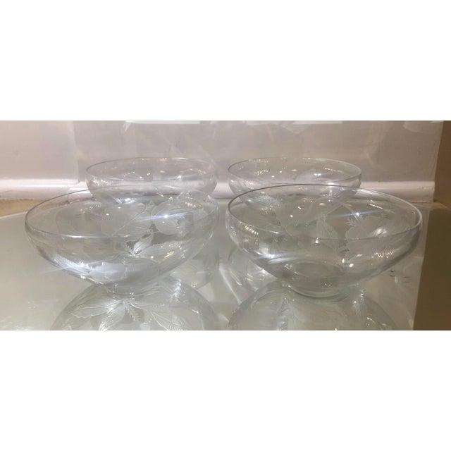 1910s Rare Set of 4 Antique Etched Crystal Bowls by Kalana by Dorflinger For Sale - Image 5 of 5