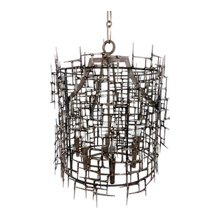 Vintage Brutalist Mason Nail and Bronze Welded Chandelier For Sale