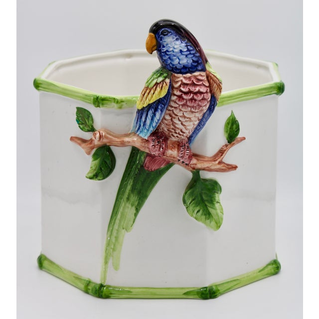 1960s Large Italian Ceramic Parrot Planter For Sale - Image 13 of 13