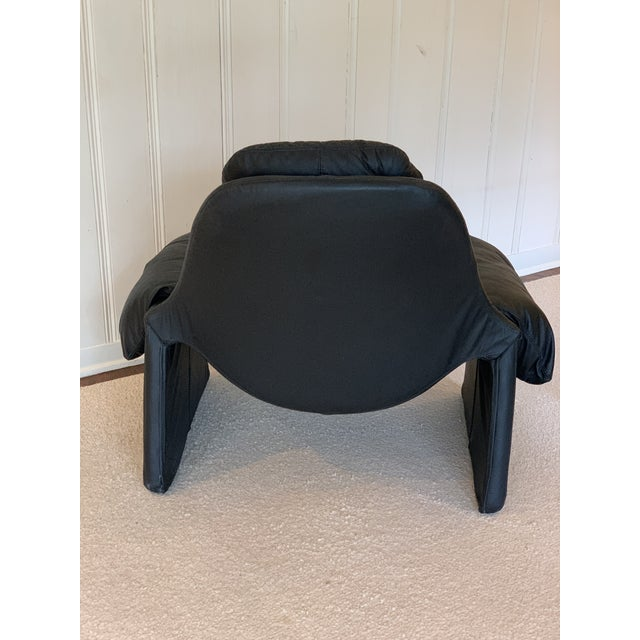 Vintage Black Saporiti Lounge Chair and Ottoman by Vittorio Introini For Sale In Houston - Image 6 of 8