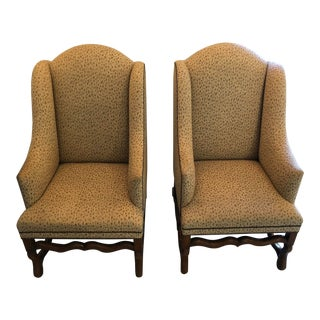 Formations E. H. Rose Tarlow Upholstered Walnut Wingback Chairs - a Pair For Sale