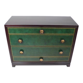 Tommi Parzinger Hand-Tooled Leather Cabinet For Sale