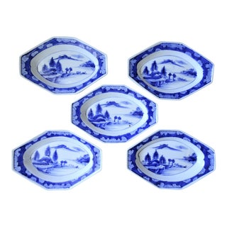 Antique Imari Japanese Blue and White Plates - Set of 5 For Sale