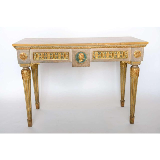 Late 18th Century Fine Italian Neoclassic Painted and Parcel-Gilt Console, Roman Late 18th Century For Sale - Image 5 of 11