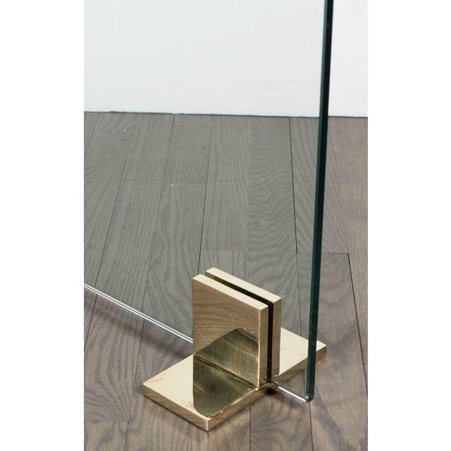 Brass Custom Modern Fire Screen in Polished Brass and Tempered Glass For Sale - Image 7 of 10