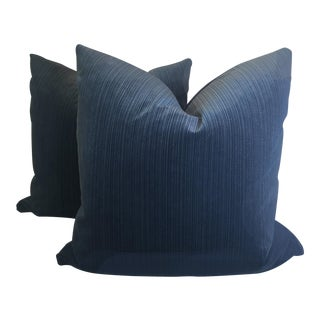 "Agean Blue Stripe Velvet 22"" Pillows-A Pair For Sale"