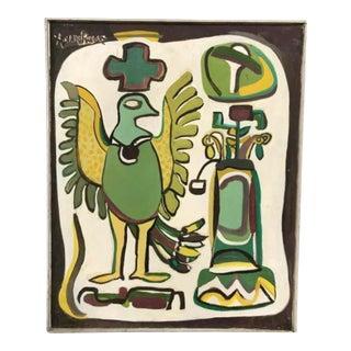 """Mid Century Folk Art Painting """"Bird"""" For Sale"""