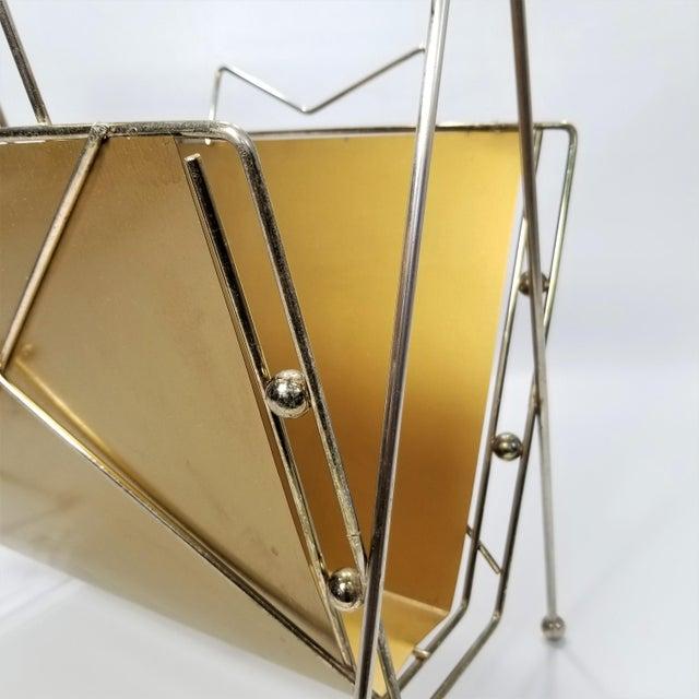 Gold Rare Atomic Mid Century Modern Magazine Holder Rack - Sputnik Era 1950s Abstract Minimalist Art Deco For Sale - Image 8 of 13