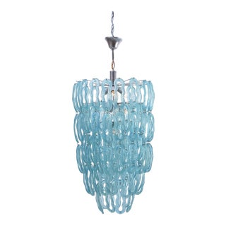 Italian Blue Chandelier, 1970s For Sale