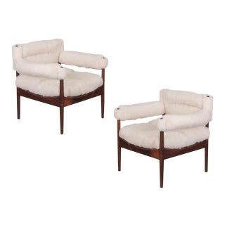 Kristian Vedel Sheepskin Modus Lounge Chairs - a Pair For Sale