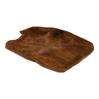 Boho Chic Natural Carved Wood Serving Tray For Sale