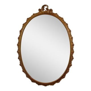 Vintage Carved Oval Mirror For Sale