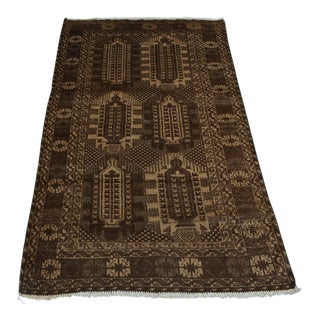Afghan Tribal Hand Knotted Baluchi Rug - 3′10″ × 6′6″ For Sale