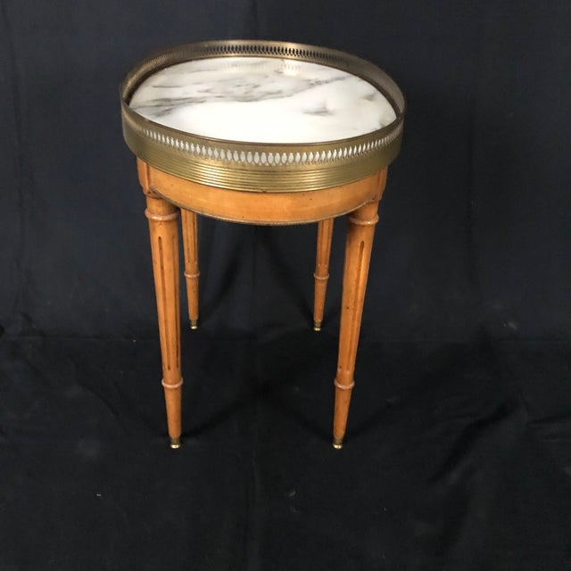 French Louis XVI Style Oval Oak Marble Topped Side Table For Sale In Naples, FL - Image 6 of 8