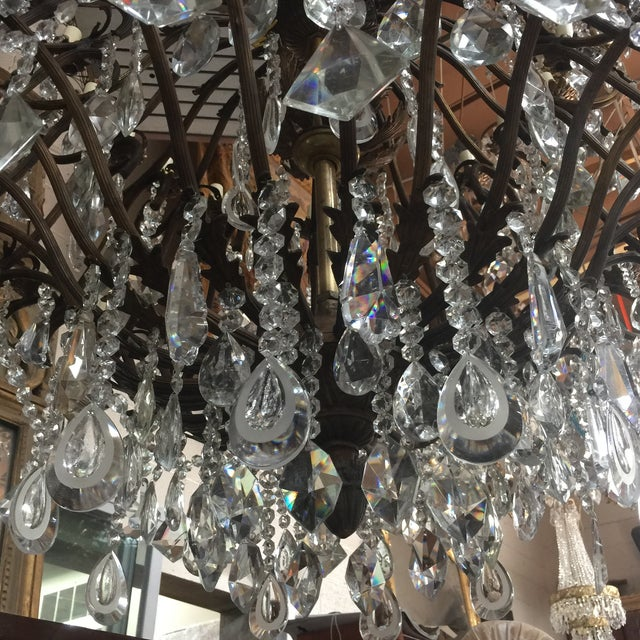 48-Light Bronze Colored Crystal Chandelier For Sale - Image 10 of 11