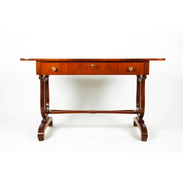 Vintage Mahogany Burlwood Writing Desk or Console Table For Sale - Image 13 of 13