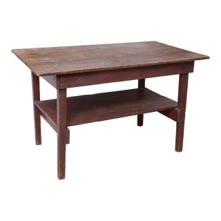 1900's Lodge Red Paint Farm House Table For Sale