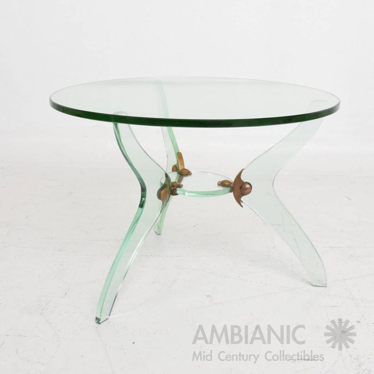 For Your Consideration A Vintage Modern Round Coffee Table. Made In Italy,  Circa 1950s. Italian Italian Glass U0026 Bronze Coffee ...