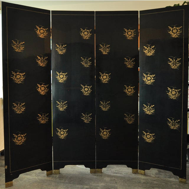 Green Vintage Chinese 4 Panel Lacquered Hardstone Screen For Sale - Image 8 of 10