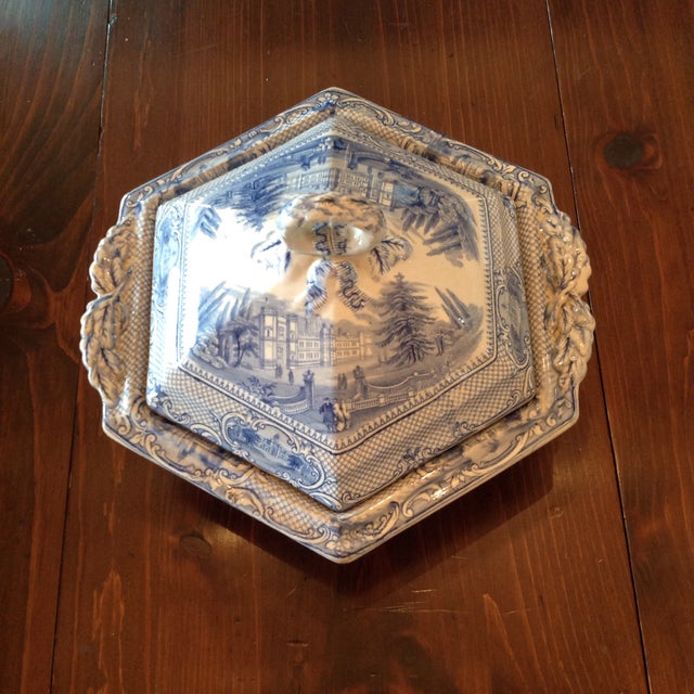 Traditional Antique Blue and White Transferware Dish With Lid For Sale - Image 3 of 13