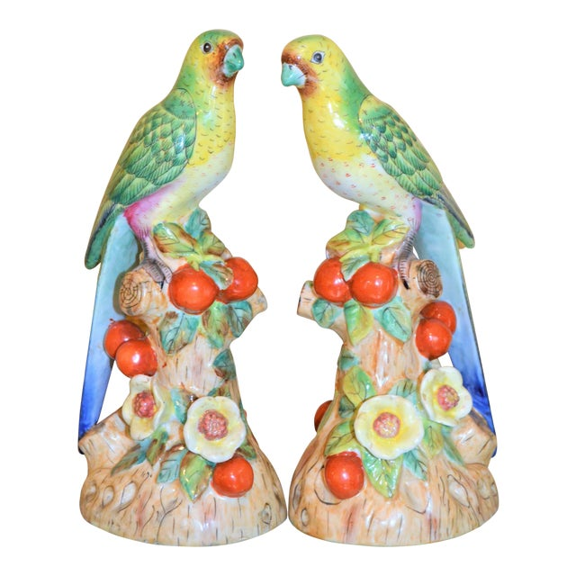 1980s Green Majolica Parakeets Figurines - A Pair For Sale - Image 10 of 11