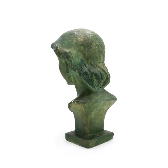 Art Deco French Art Deco Patina Lady Bust For Sale - Image 3 of 10