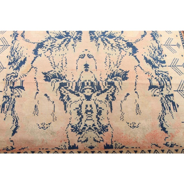 Early 20th Century Early 20th Century Antique Hand Knotted Pink and Blue Agrarian Rug 4′ × 6′8″ For Sale - Image 5 of 7