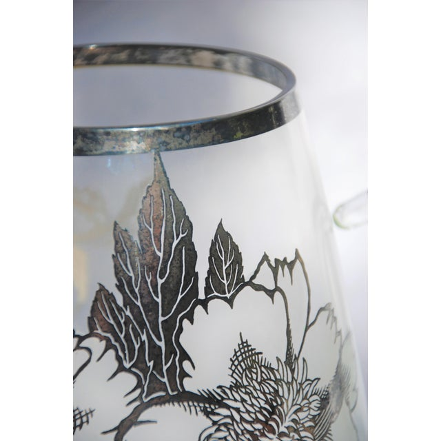 Mid-Century Modern Vintage Sterling Silver Overlay Glass Pitcher For Sale - Image 3 of 9