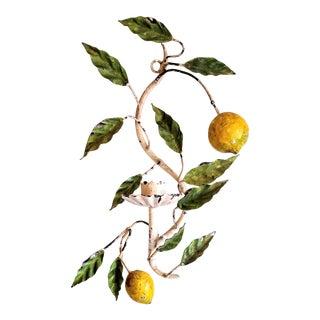 Vintage Italian Tole Lemon Candle Holder Sconce