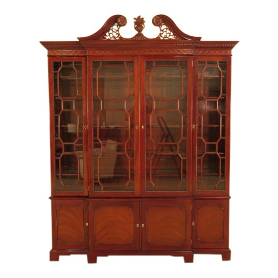 Kindel Four Door Mahogany Breakfront China Cabinet For Sale