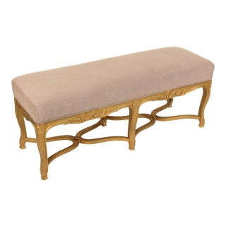 1930s Louis XV Style Gilt Wood Bench For Sale