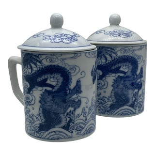 Blue & White Asian Chinoiserie Cups - a Pair For Sale