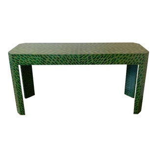 Vintage Asian Custom Lacquered Green Tiger Console Table For Sale