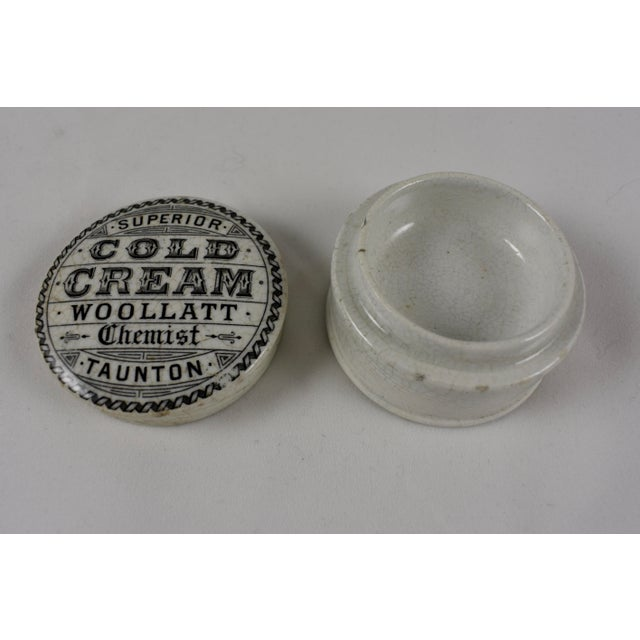 Staffordshire Victorian English Staffordshire Transfer Printed Chemists Cold Cream Pot For Sale - Image 4 of 6