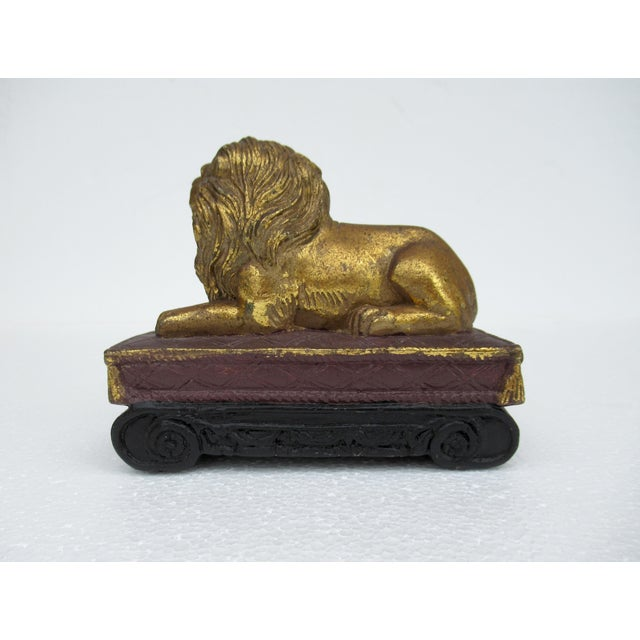 Goldenrod C.1980s Gilt Carved Lion Accent Piece / Paperweight on Attached Pedestal Scroll Base For Sale - Image 8 of 13