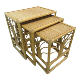 McGuire Style Bamboo Rattan Side Nesting Tables - Set of 3