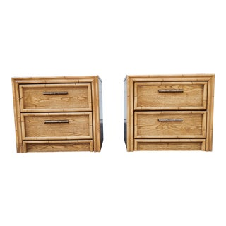 Palm Beach Lea Faux Bamboo Rattan Nightstands - a Pair For Sale