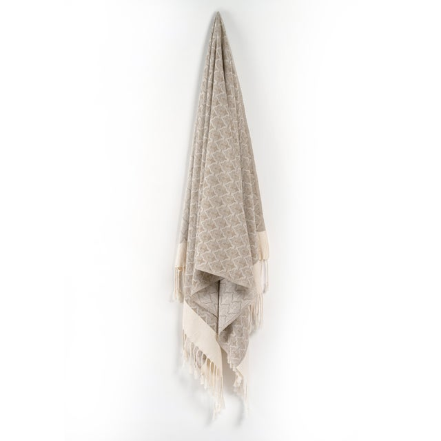 Traditional Mute Eloquence Handmade Organic Cotton Towel in Beige For Sale - Image 3 of 8