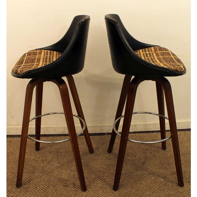 Mid-Century Chrome & Walnut Swivel Bar Stools - A Pair - Image 3 of 11