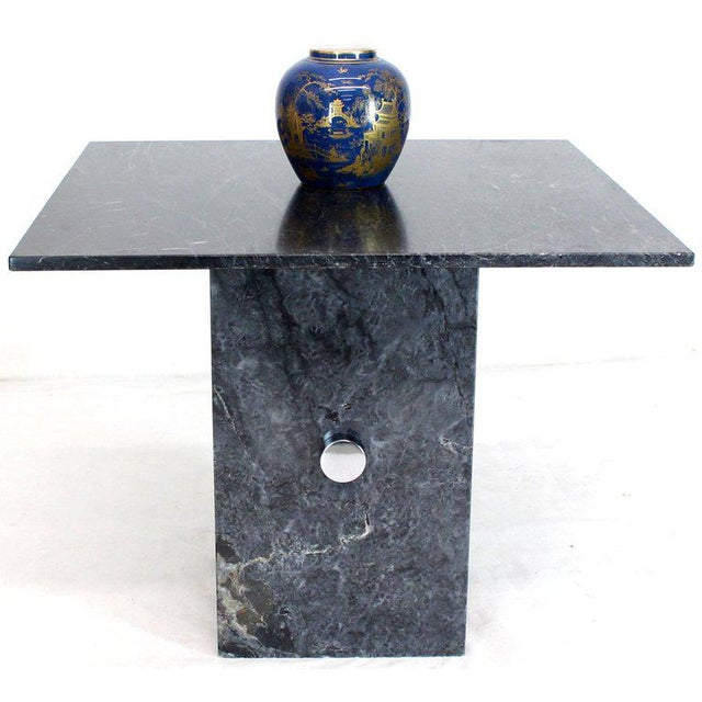 Pace Black Square Marble Top Small Conference Dining Game Cafe Table For Sale - Image 4 of 10