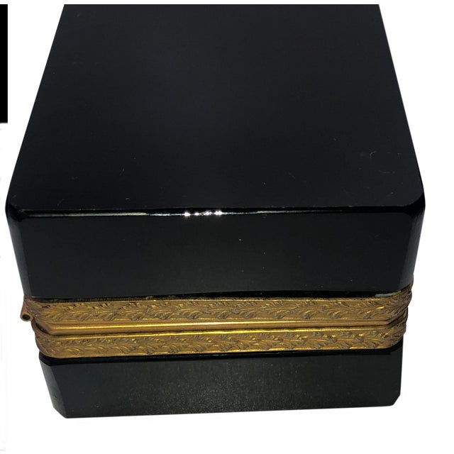 Antique 19th Century French Black Opaline Glass Casket Box For Sale - Image 4 of 7