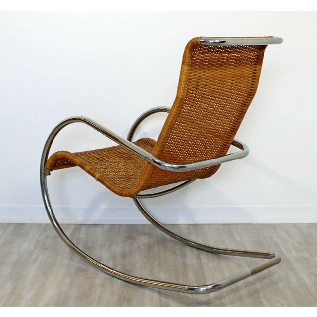 Transparent Mid Century Modern Italian Rattan Tubular Chrome Rocker Rocking Chair Italy 70s For Sale - Image 8 of 12